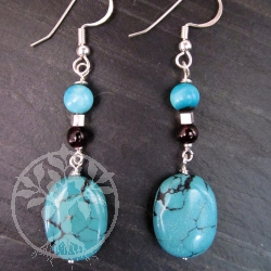 Garnet Turquoise Oval Silver Earrings