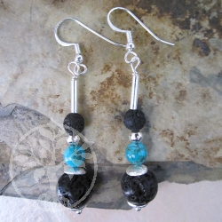 Lava Turquoise Silver Ball Earrings
