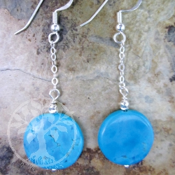 Turquoise Gemstone Earrings Disc