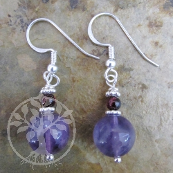 Amethyst Garnet Ball Earrings