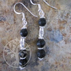 Lava Mini Ball Silver Earrings