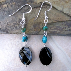 Obsidian Turquoise Gemstone Earrings