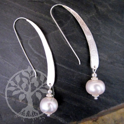 Pearl Earrings Silver Hook brushed