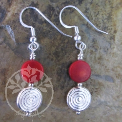 Coral Earrings Silver Bead Squiggle