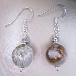 Petrified Wood Ball Silver Earrings