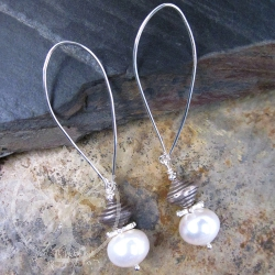 Pearl Earrings Silver Gyroscope