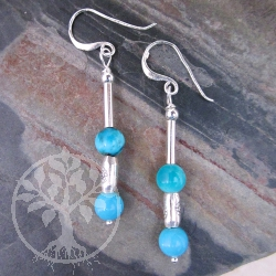 Turquoise Earrings Silver Beads Flower
