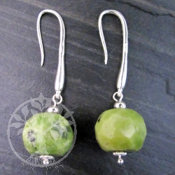 Jade Silver Earhooks Green Apple