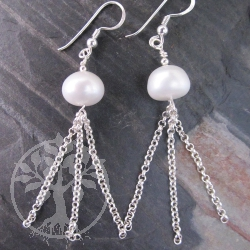 Pearl Earrings Onion Chains