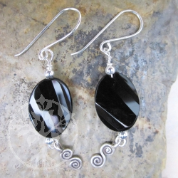 Obsidian Earrings Silver Ornaments