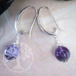 Amethyst Earrings Silver Hook brushed