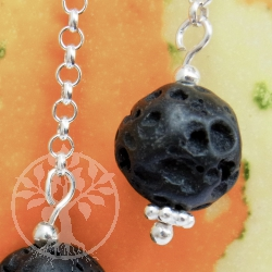 Lava Ball Earrings Silver Chain
