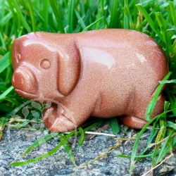 Gold Stone hog piglet animal figurine