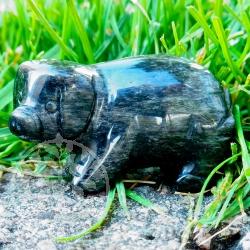 Obsidian Schwein Edelsteinfigur Schweinchen 50mm