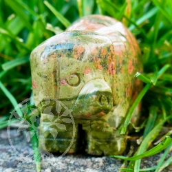 Unakite pig animal engraving lucky charm