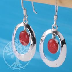 Koralle Ohrhaenger Silber oval