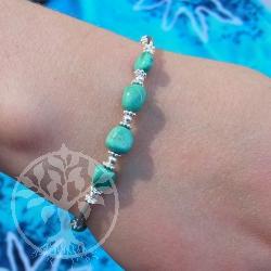 Tuerkis Armband Silberwelle mit echt Türkis Stein