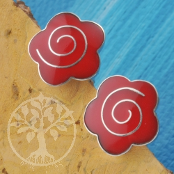 Silver Earring Coral Flower