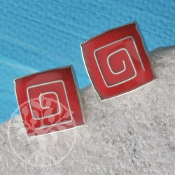 Silver Earring Coral Square