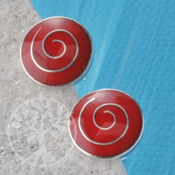 Earring Silver Coral Disc