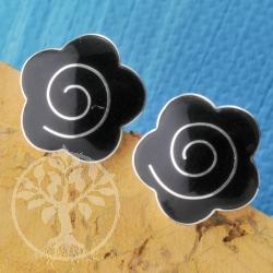 Silver Earring Onyx Flower