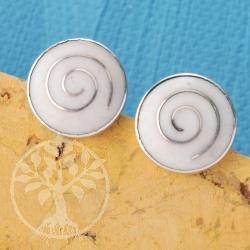 Earring Silver Nacre Disc