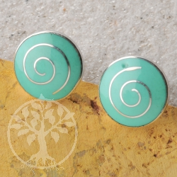 Earring Silver Turquoise Disc