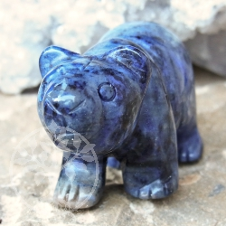 Dumortierite Gemstone Engraving Animal Bear