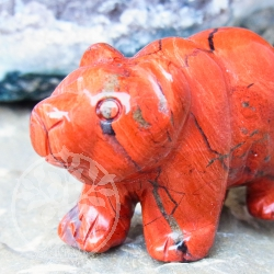 Red Jasper Gemstone Animal Figurine Bear