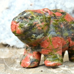 Unakite Gemstone Bear Animal Engraving
