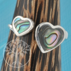 Silver Ring Nacre Heart