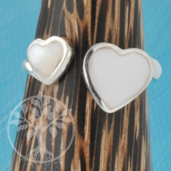 Silver Ring White Heart