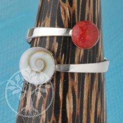 Koralle Shivaring Silberring 925 mit echter Muschel und Koralle