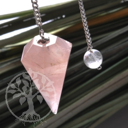Rosa Quartz Pendulum with Bead