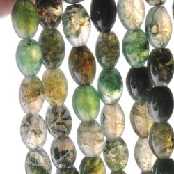 Moosachat Schmuckperlen grün Olive 8x6mm