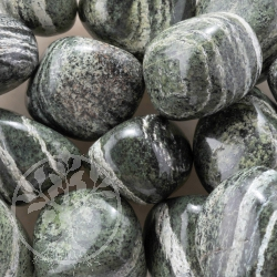 Silver Eye Tumbled Stone Wholesale Serpentine green lines