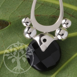 Silver Pendant Black Drop