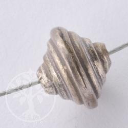 Silberperle Turm rund Oxidiert 925er Silber Handgefertigte Perle 8 x 9mm
