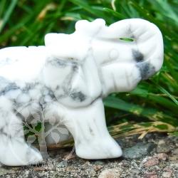 Weißer Elefant aus Naturstein Magnesit Edelstein-Elefant