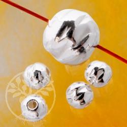 Silberperle runder Zapfen, 6 mm Perle gehämmert aus Silber 925