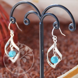 Turquoise Silver Earrings Twist