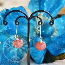 Fire Agate Silver Earrings Blood Orange