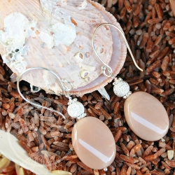 Moonstone Earrings Silver Sheen
