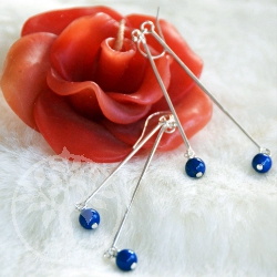Lapis Silver Earrings Dangliding