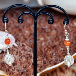 Carnelian Earrings Silver Plate Ball