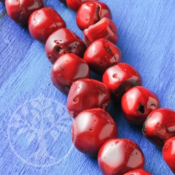 Coral Nugget Beads Sweet Cherry