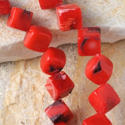 Coral Jewelry Beads Diagonal Cube