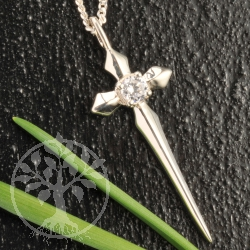 Silver Cross Pendant white