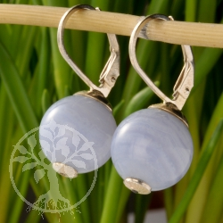 Chalcedony Earrings Blue Water Sphere