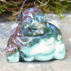 Moss Agate Gem Buddha Engraving